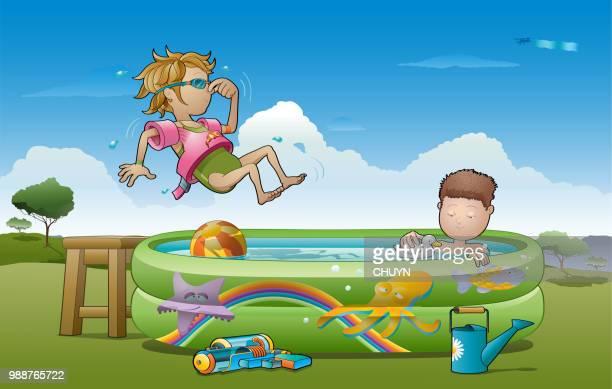 ilustraciones, imágenes clip art, dibujos animados e iconos de stock de campamento de verano - pool party