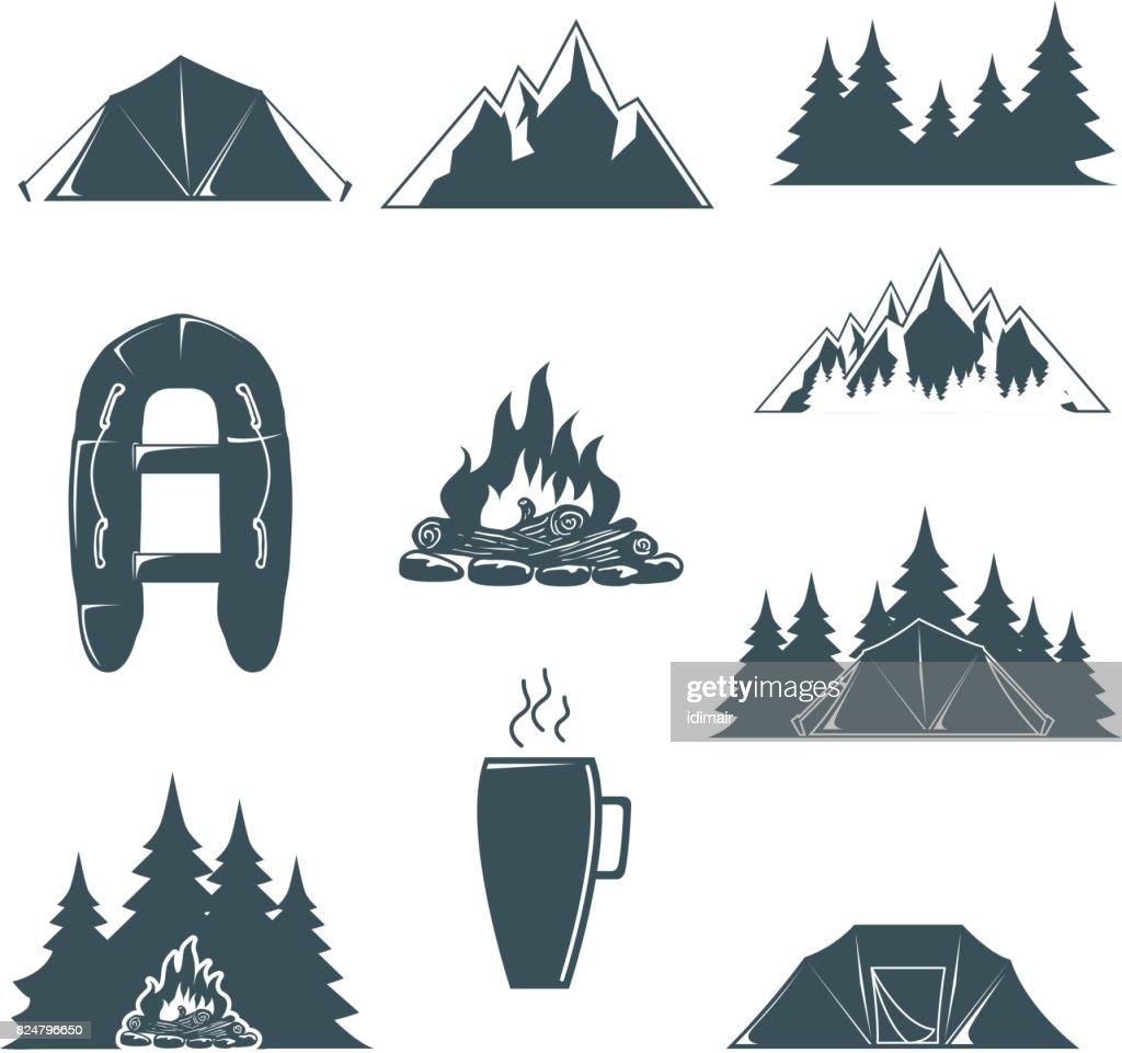 Sommercamp Mit Designelementen Camping Und Outdoor Abenteuer Vektor