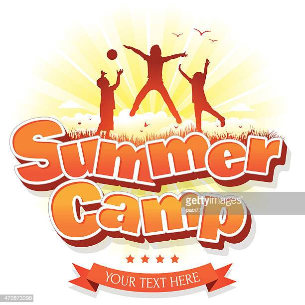 Summer Camp with happy group of children or kids jumping