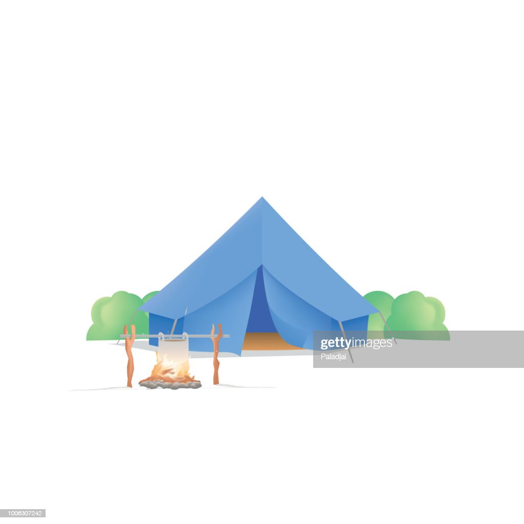Summer Camp with the blue camp and campfire on white background illustration vector. Camping concept.