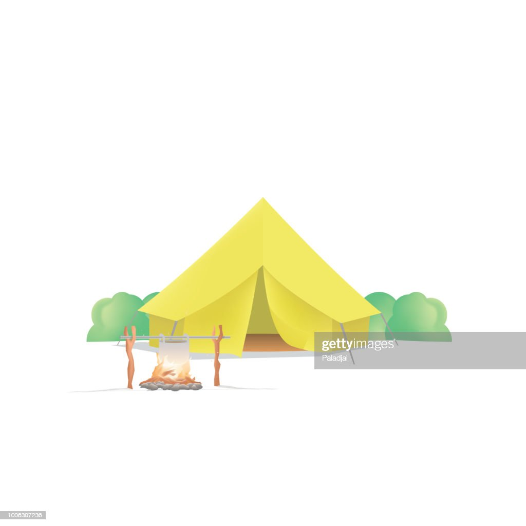 Summer Camp with the yellow camp and campfire on white background illustration vector. Camping concept.