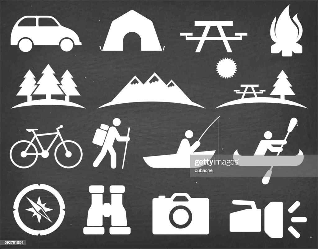 Summer Camping and Hiking on Black Chalkboard Vector Icon Set