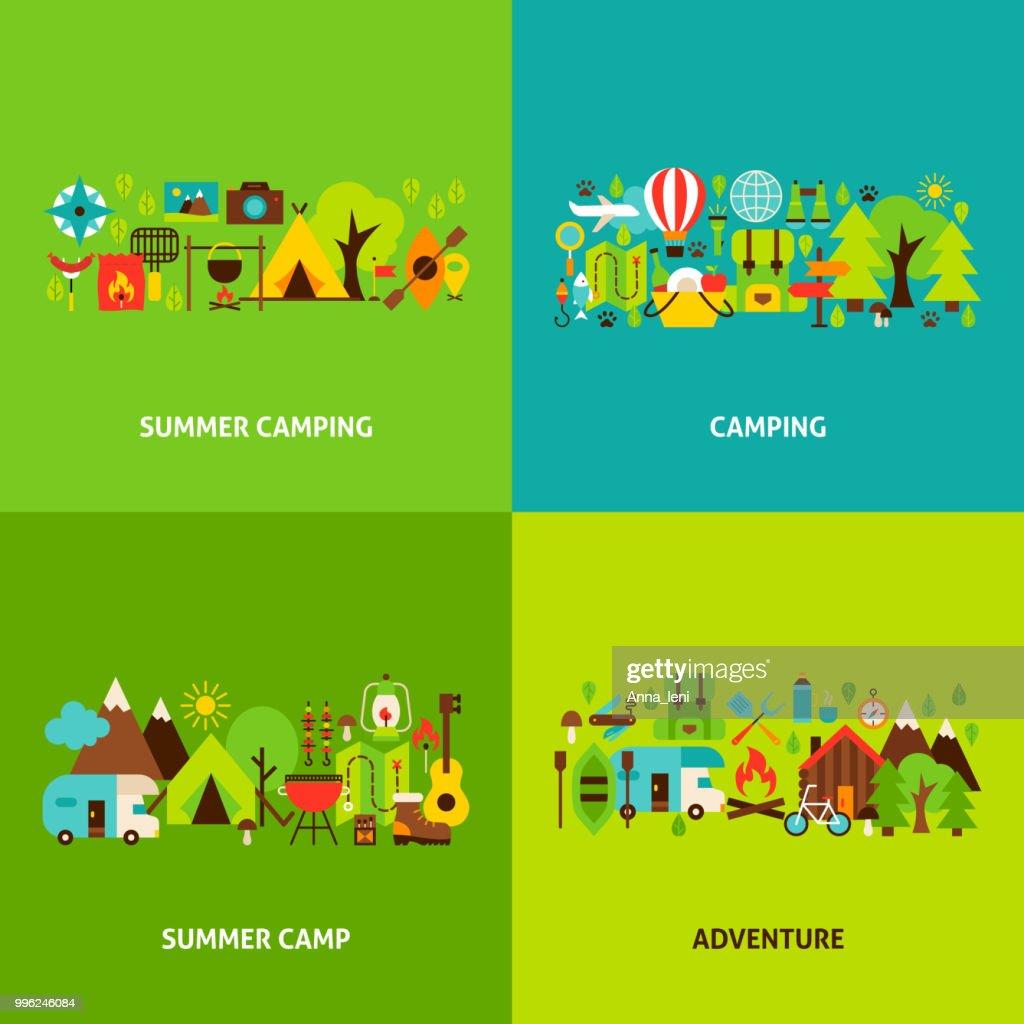 Summer Camping Concepts Set