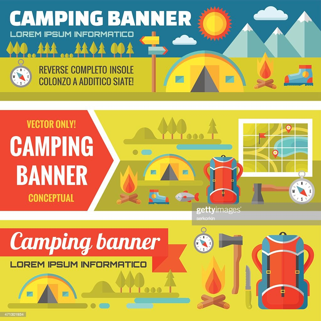 Summer camping - mountain expedition adventures - banners set