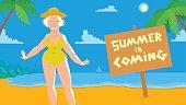 Summer card, old woman on the beach