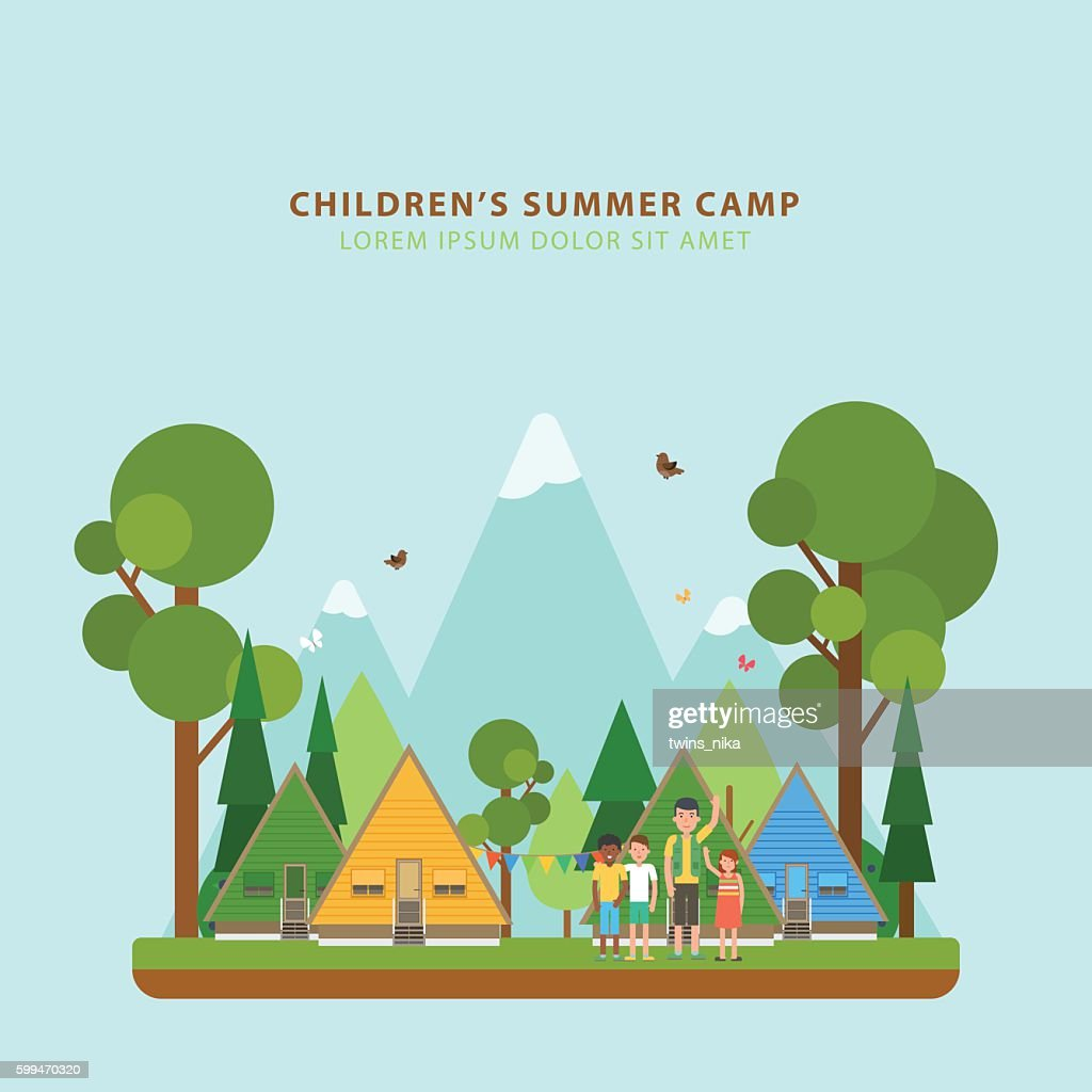 Summer children's camping. Vector concept.