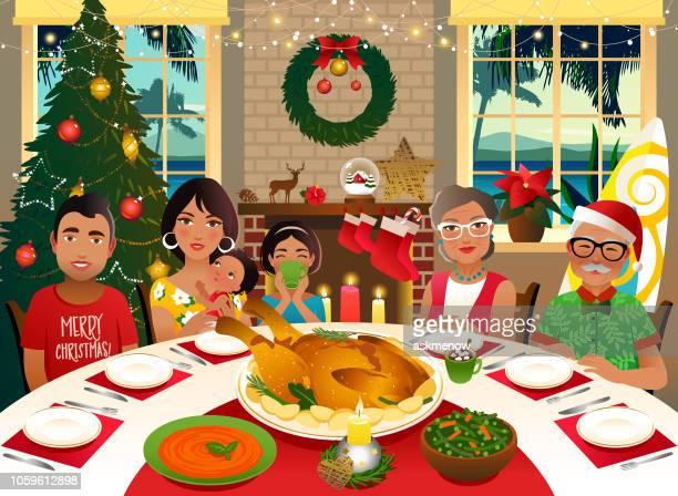 ilustraciones, imágenes clip art, dibujos animados e iconos de stock de celebración de la navidad de verano - mesa de comedor