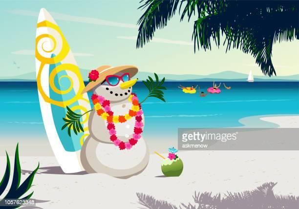 summer christmas - snowman stock illustrations