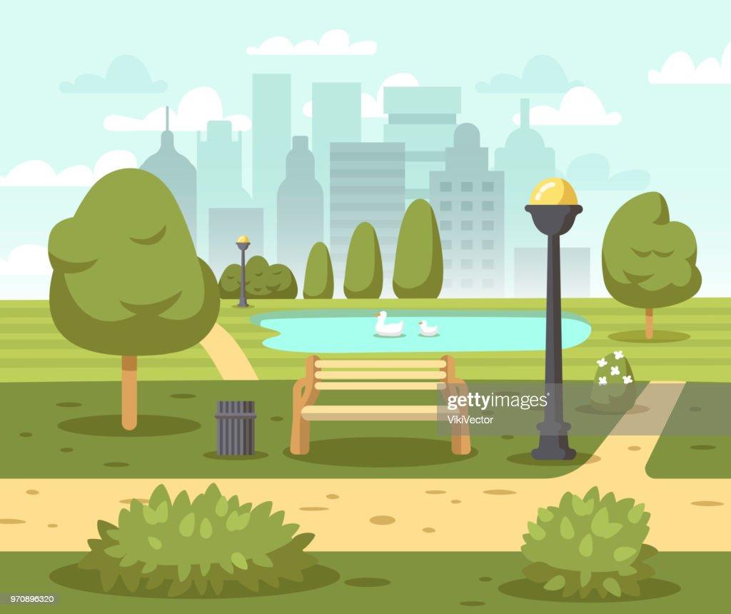 Summer city park background