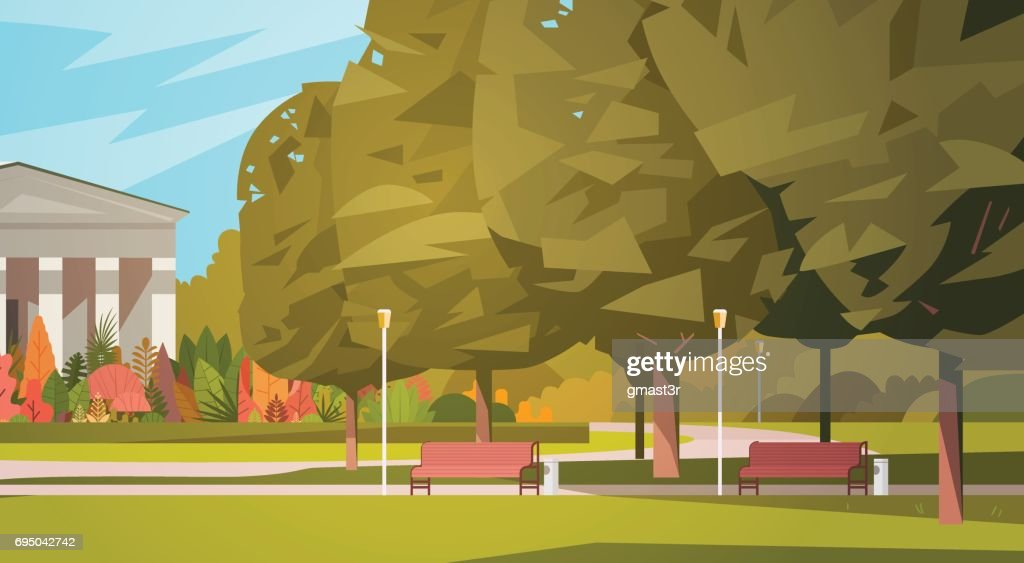 Summer City Park With Town Building Background Green Trees And Wooden Bench