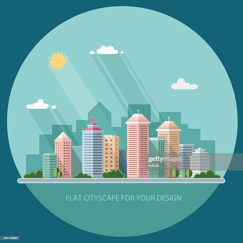 summer cityscape illustration. city design, metropolis street and trees background