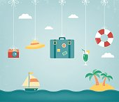 Summer composition with flat design icons. Summer background. Vector