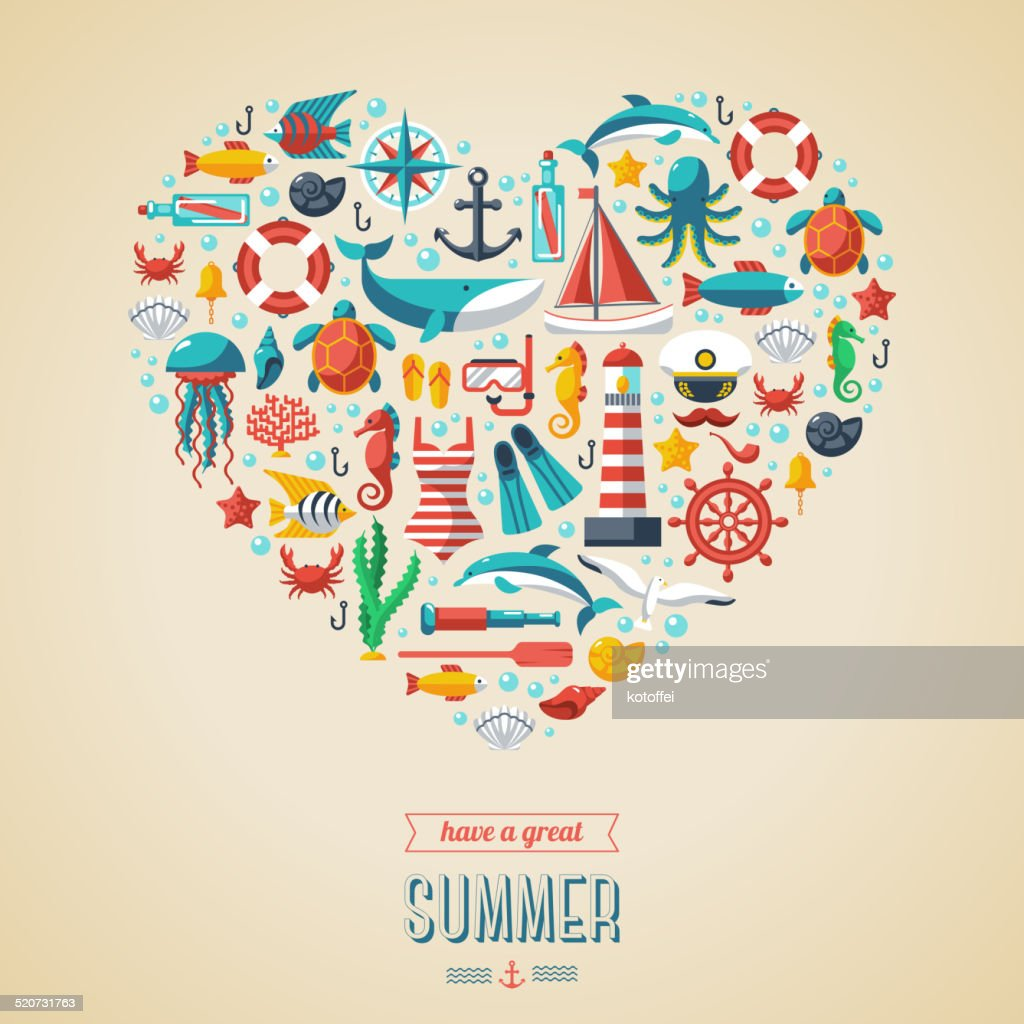 Summer concept. Flat icons arrange in the form of heart.