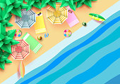 Summer concept with aerial view of colorful umbrella,accessories and coconut trees.