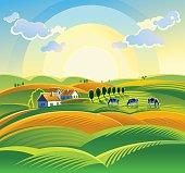 Summer countryside landscape.