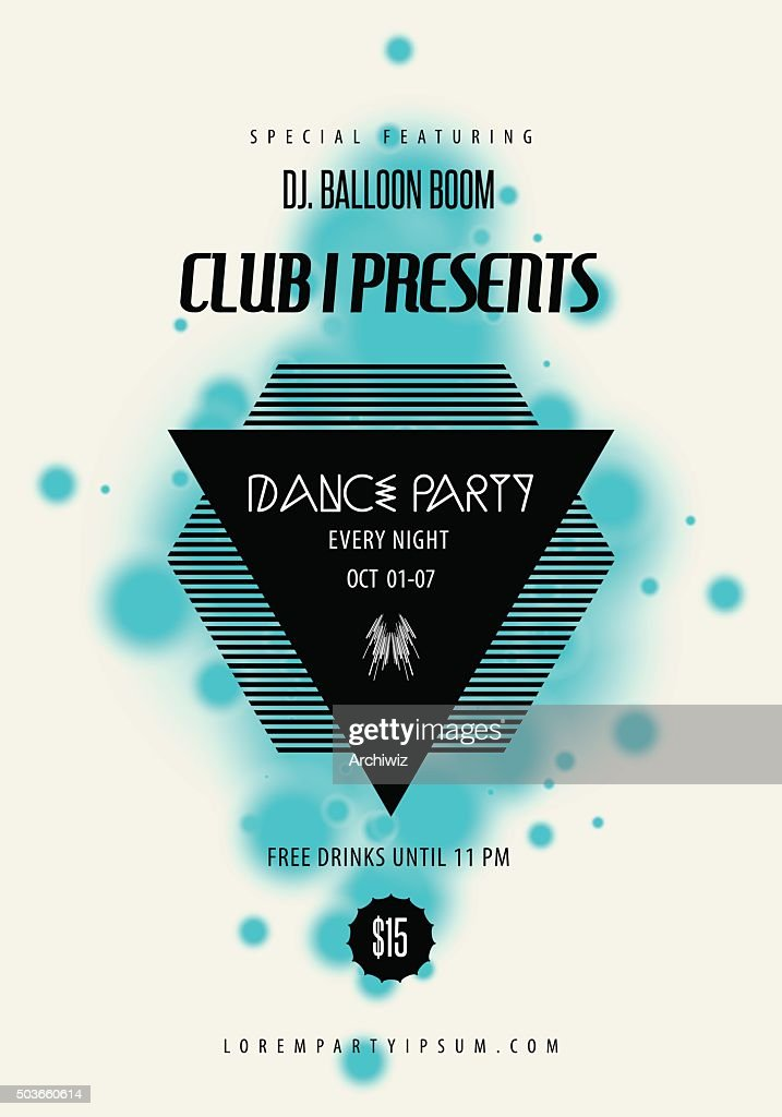 Summer Dance party music poster, flyer template.