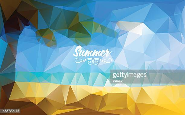 summer delaunay triangulation background - crumpled stock illustrations