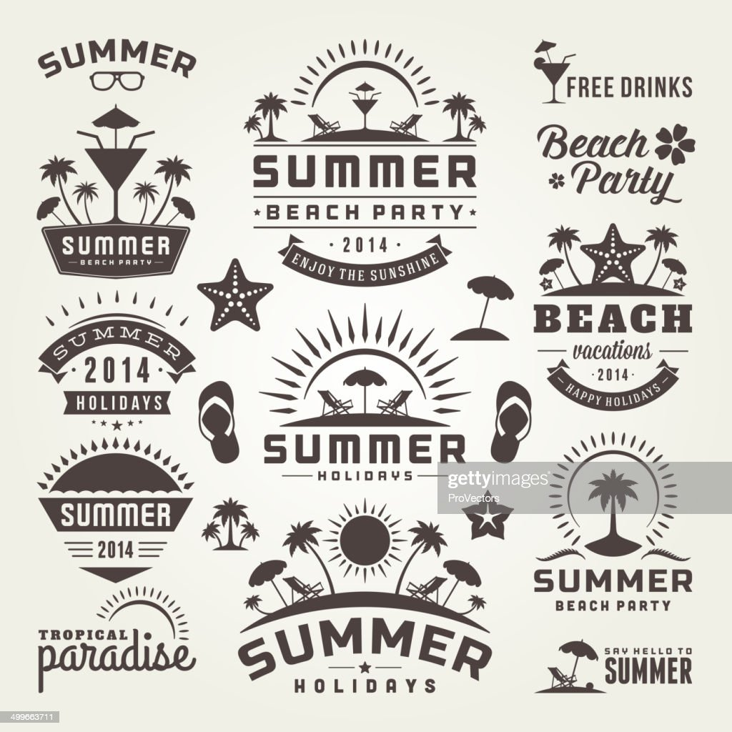Summer design elements and typography design