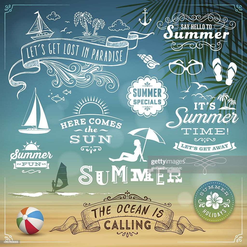 Summer Design Elements : stock illustration