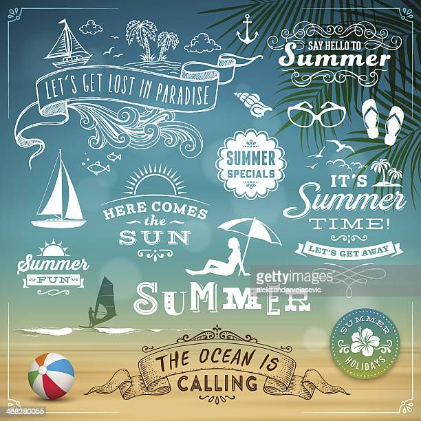 sommer design-elemente - illustration stock-grafiken, -clipart, -cartoons und -symbole