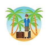 Summer design. Holidays icon. Colorfull illustration, vector gra
