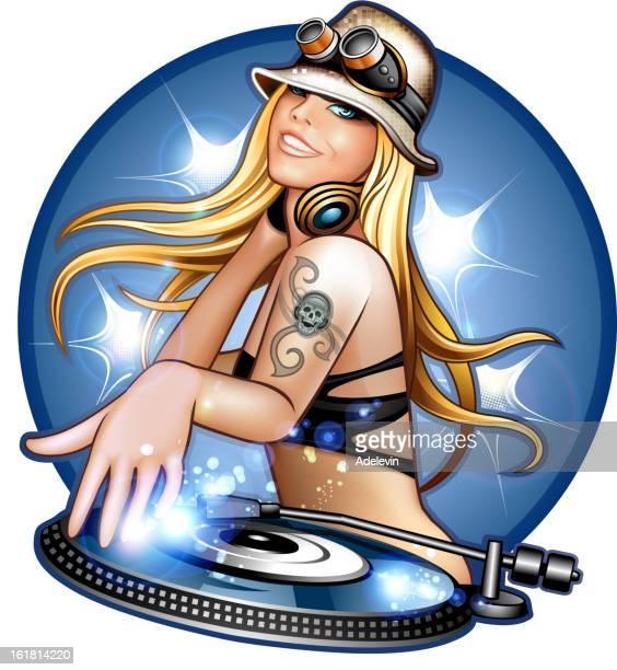 ilustraciones, imágenes clip art, dibujos animados e iconos de stock de dj chica en las terrazas de verano - mujer escuchando musica