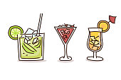 Summer drinks in trendy doodle hand drawn style. Vector illustrations with fresh cocktail drinks
