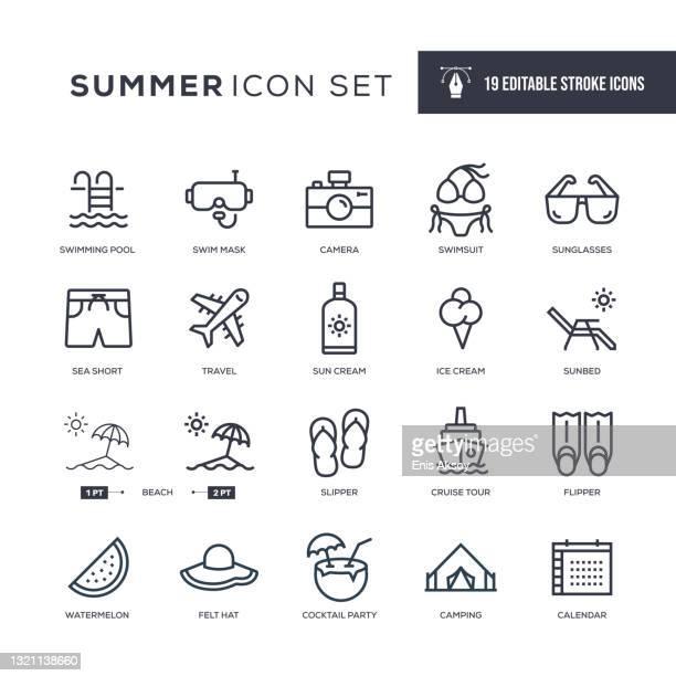 summer editable stroke line icons - scuba mask stock illustrations