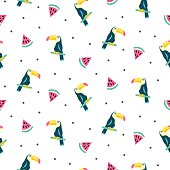Summer exotic tropical seamless pattern with toucans and watermelons