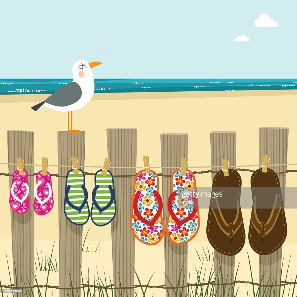 Summer family, flip flops beach sea sand illustration vector : stock illustration