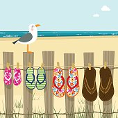 Summer family, flip flops beach sea sand illustration vector
