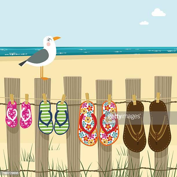 Summer family, flip flops beach sea sand illustration vector