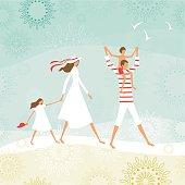 Summer family on the beach