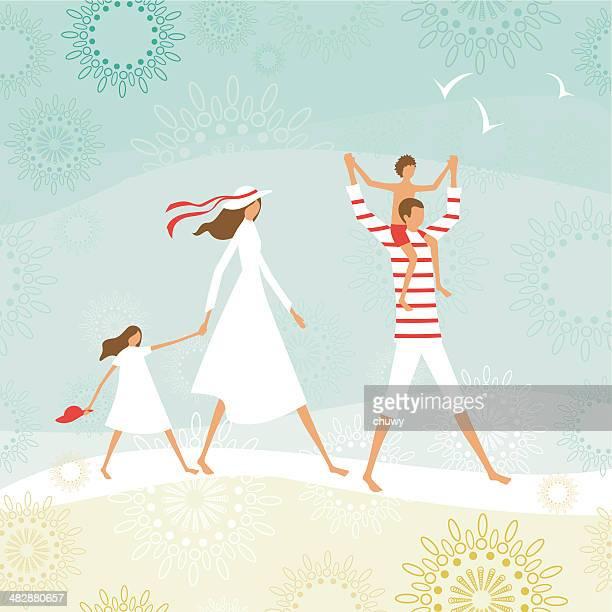 ilustraciones, imágenes clip art, dibujos animados e iconos de stock de verano la familia en la playa - madre e hija