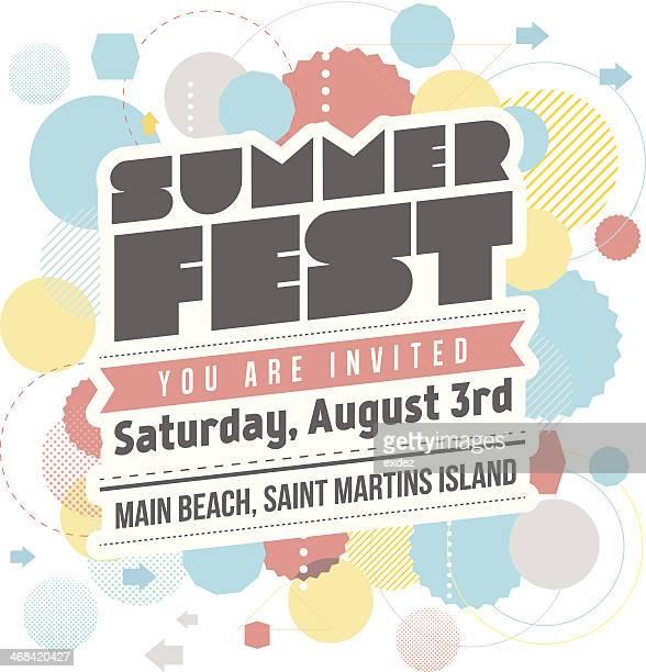 ilustrações, clipart, desenhos animados e ícones de verão fest design - festival tradicional