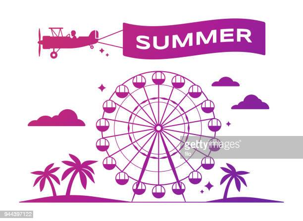 summer festival ferris wheel - ferris wheel stock illustrations, clip art, cartoons, & icons