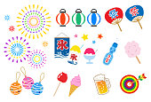 Summer festival in Japan_icon set
