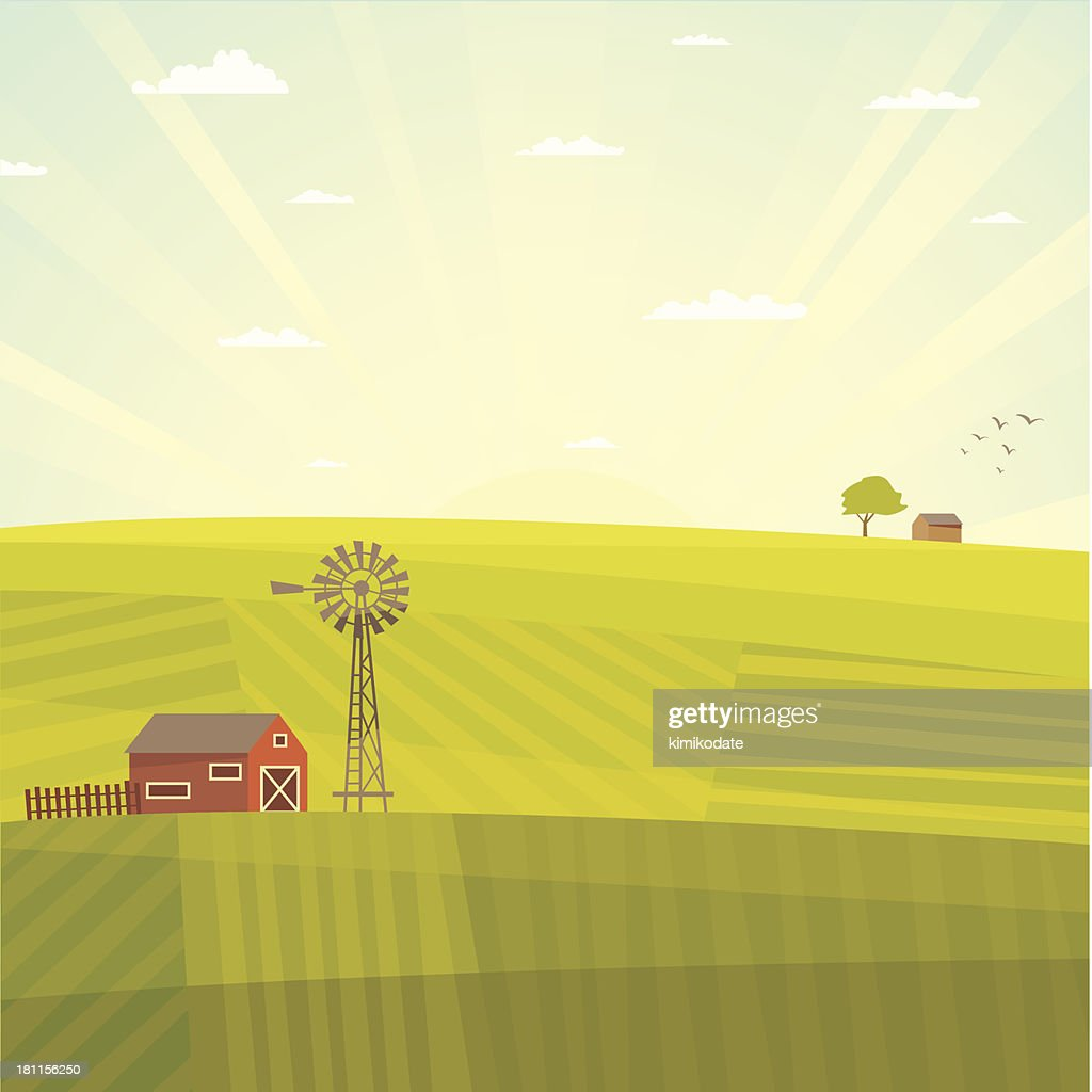 Summer field landscape : stock illustration