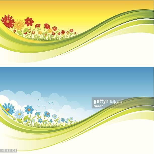 bildbanksillustrationer, clip art samt tecknat material och ikoner med summer field of flowers - flowerbed