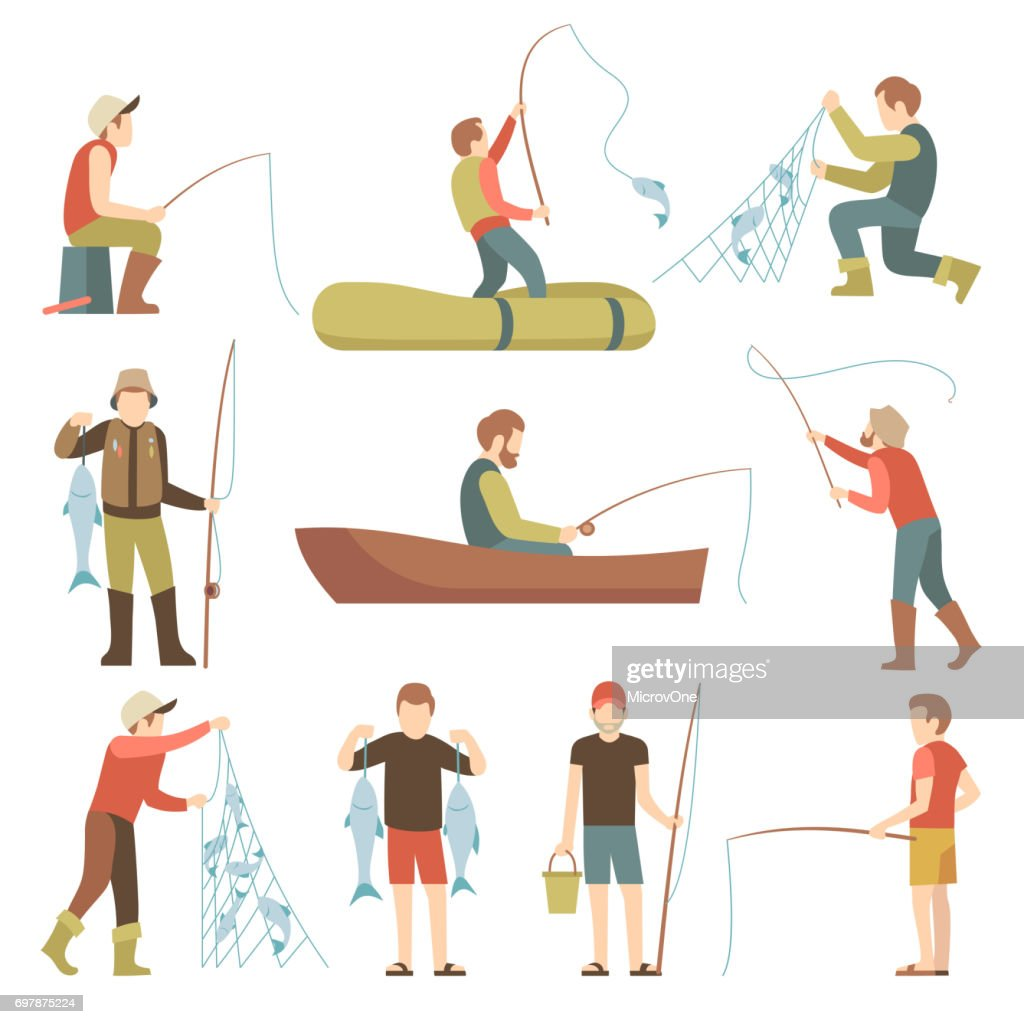 Summer fishing sport vacation vector flat icons. Fishermen with fish set