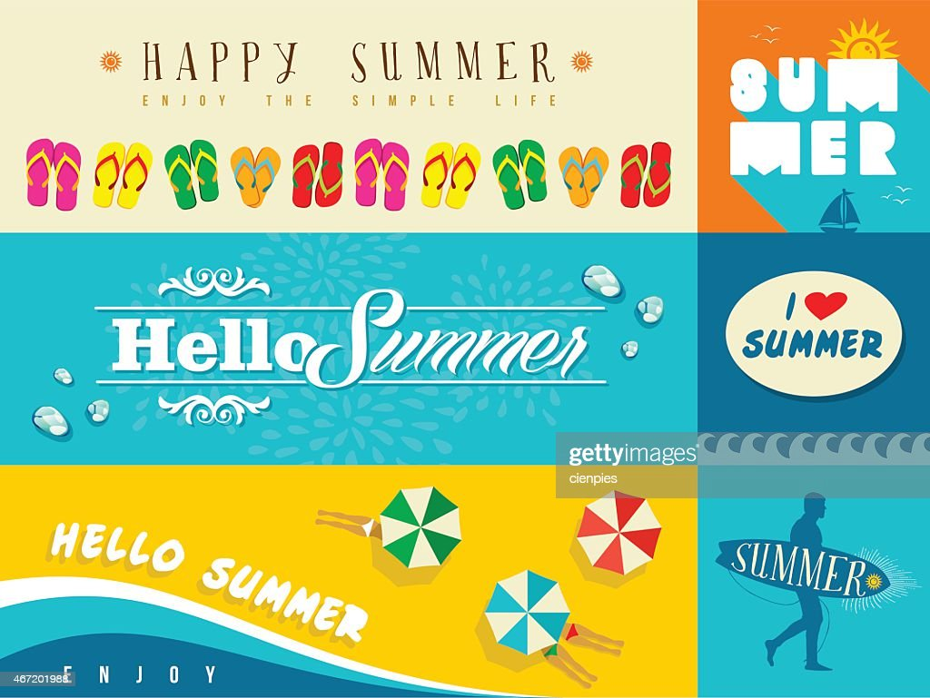 Summer flat banner set illustration