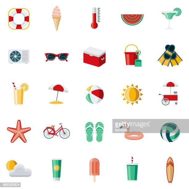summer flat design icon set - group of objects stock illustrations