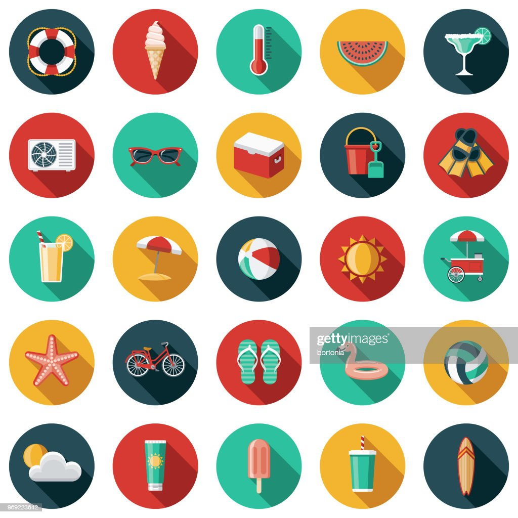 Summer Flat Design Icon Set with Side Shadow : stock illustration
