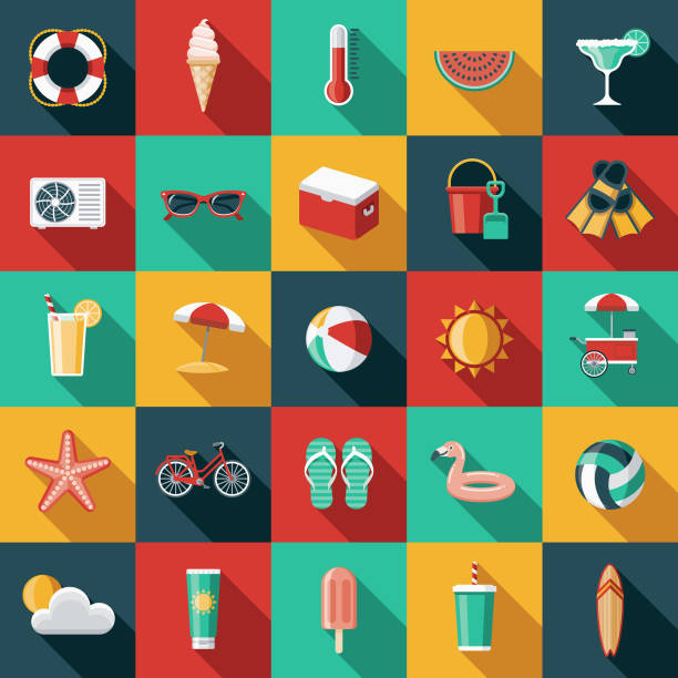 summer flat design icon set with side shadow - ice cream stock illustrations