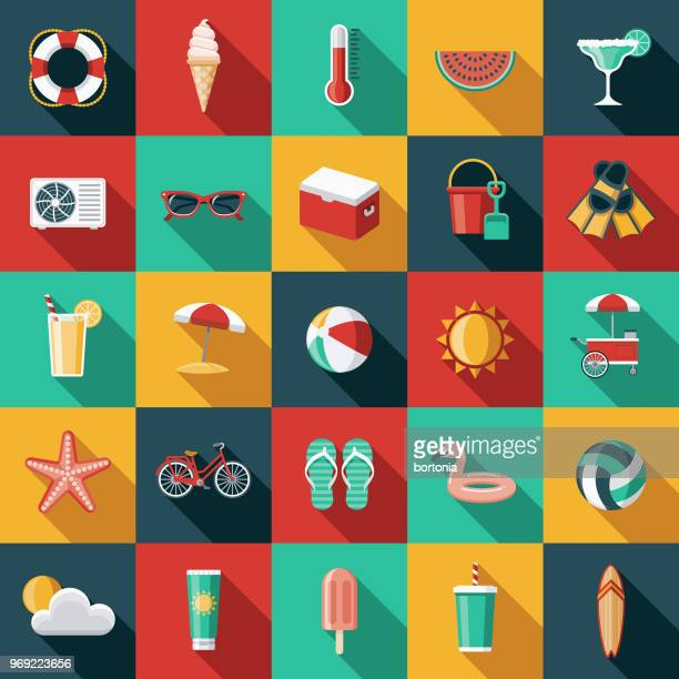 summer flat design icon set with side shadow - summer stock illustrations
