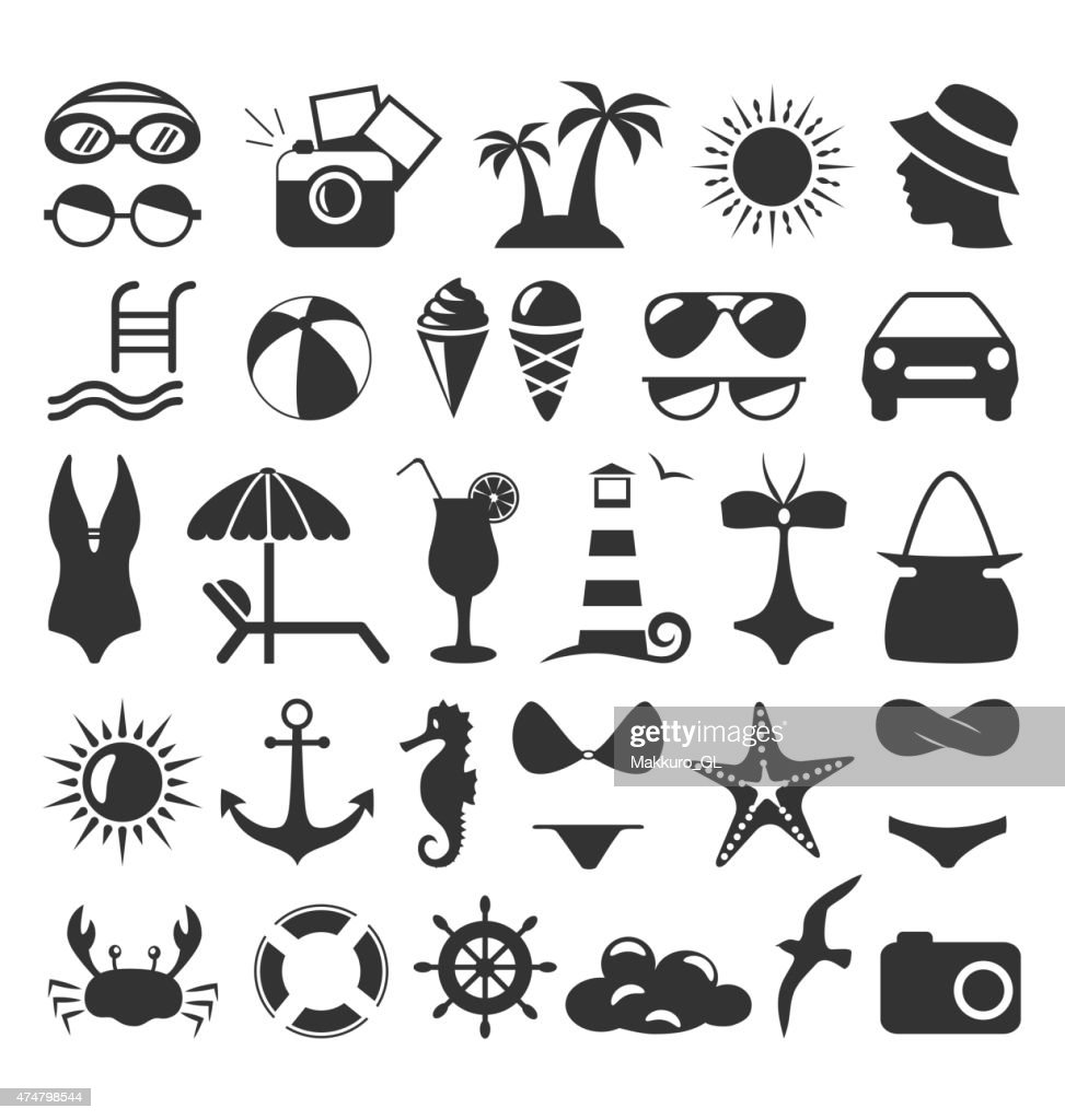 Summer flat icons set isolated on white