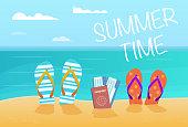 Summer flip flops on sandy beach .Family vacation .Vector Illustration