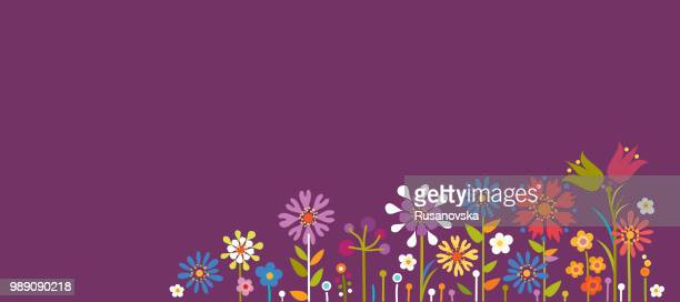 summer floral background - happy birthday banner stock illustrations