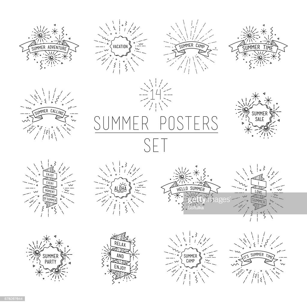 Summer flyer set. Universal linear flat poster