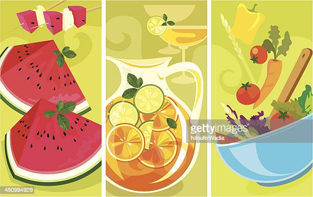 summer food banners - juice drink stock illustrations, clip art, cartoons, & icons